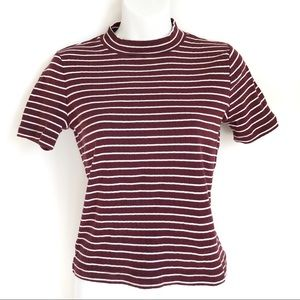 Forever 21 High Neck Striped T-Shirt Tee Top